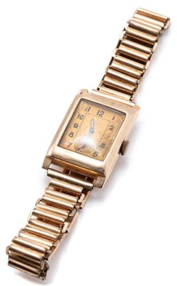 Sale 9149 - Lot 389 - A VINTAGE 9CT GOLD ROLEX WRISTWATCH; faded dial, Arabic markers, subsidiary seconds, 15 jewel movement and dial signed Rolex, hinged...