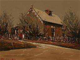 Sale 9170A - Lot 5061 - PATRICK CARROLL (1939 - 2016) Colonial Cottage, Bathurst, 1974 oil on board 44.4 x 59.5 cm (frame: 62 x 76 x 4 cm) signed left and d...