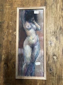 Sale 9152 - Lot 2070 - Paul Williams Standing Nude, pastel, frame: 37 x 10 cm, unsigned -