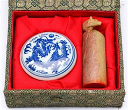 Sale 9173 - Lot 48 - A cased stone seal together with ceramic lidded container