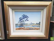 Sale 8413T - Lot 2018 - Artist Unknown - Country Landscape with River, acrylic on canvas board, frame size: 56.5 x 66.5cm, signed lower left