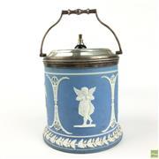 Sale 8649R - Lot 86 - Jasperware Biscuit Jar (H: 18 Dia: 14cm)
