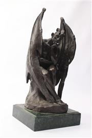 Sale 8694 - Lot 79 - Bronze Arch Angel Statue on Marble Base ( H 36cm)