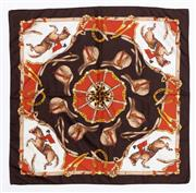 Sale 8800F - Lot 61 - A printed silk scarf with equestrian motifs