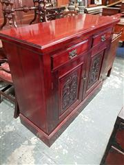 Sale 8814 - Lot 1073 - Edwardian Pine Sideboard, with two drawers & two carved panel doors (Key in Office)