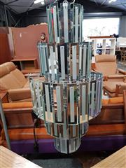 Sale 8822 - Lot 1101 - Mid Century Modern Five Tier Glass Chandelier with Square Panels