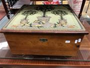 Sale 8868 - Lot 1583 - Timber Lift Top Footstool With Tapestry Upholstered Top