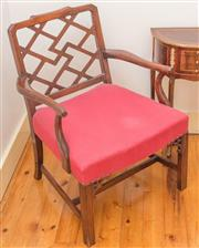 Sale 8342A - Lot 327 - A Chippendale Chinese style armchair with red upholstered seat, W 64cm
