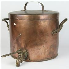 Sale 8351A - Lot 39 - Vintage French Copper Lidded Boiling Pot with Impressed Mark R.W and Brass Tap diameter 35cm depth 31cm(approx weight 10kg)