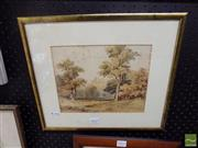 Sale 8474 - Lot 2032 - E. Thomas Landscape, watercolour (AF), 19 x 24cm, signed lower right -
