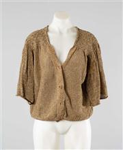 Sale 8740F - Lot 11 - A Dries van Noten metallic gold linen/cupro cardigan with short bell sleeves