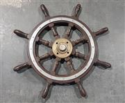 Sale 8976N - Lot 307 - Hardwood Ships Helm with Steel Surround, Brass Spindle and 7 Spokes (d:770mm)