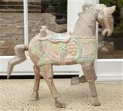 Sale 9060H - Lot 86 - A Chinese carved timber horse in pastel colours. Height 60cm