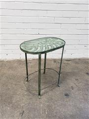 Sale 9080 - Lot 1016 - Monstera Leaf Occasional Metal Table with Glass Top and Faux Patina, H55cm x W48 x D31cm