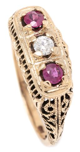 Sale 9149 - Lot 395 - AN EDWARDIAN STYLE DIAMOND AND RUBY RING; set in 9ct gold with an approx. 0.15ct round brilliant cut diamond adjacent to 2 round cut...