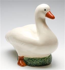 Sale 9246 - Lot 44 - A large ceramic goose figure on leafy base (H:31cm L:34cm) - some glazing irregularities
