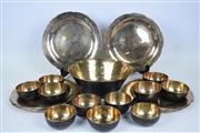 Sale 8381B - Lot 98 - Hand Beaten Metal Dinner Suite