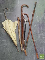 Sale 8444 - Lot 1031 - Group of Walking Sticks, Riding Crops & Parasol