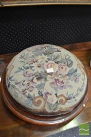 Sale 8460 - Lot 1035 - Early Round Walnut Footstool, upholstered in floral fabric