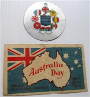 Sale 8639 - Lot 77 - Two Card mementoes for Australia Day For Our Wounded Heroes 30th July 1915 and Allies Day November 1915.