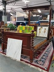 Sale 8666 - Lot 1061 - Victorian Mahogany Half Tester Bed, with D shaped canopy, the footboard with barley twist supports