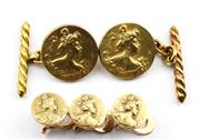 Sale 8829 - Lot 343 - ART NOUVEAU 18CT GOLD CUFFLINKS AND SHIRT STUD SUITE; each a bijou médaille circular disc featuring portrait of a lady, cufflinks di...