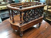 Sale 8889 - Lot 1045A - Victorian Inlaid Walnut Music Canterbury, with pierced sides & turned dividers, having a frieze drawer & turned legs