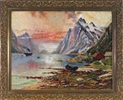 Sale 9019 - Lot 2045 - Artist Unknown (C19th) - Cottages by the Highland Lake with Steamer 46.5 x 59.5 cm (frame: 59 x 72 x 4 cm)