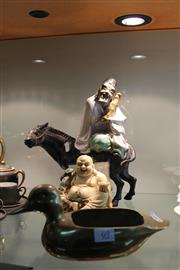Sale 8306 - Lot 69 - Chinese Figure of a Man on Horseback, Buddha Figure & a Golden Duck