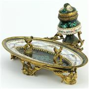 Sale 8356 - Lot 41 - French Louis XVI Style Gilt Metal Enamelled & Jewelled Desk Stand