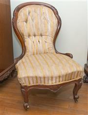 Sale 8368A - Lot 25 - A Victorian carved walnut ladies chair with striped upholstery
