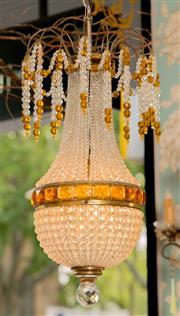 Sale 8500A - Lot 99 - A very rare antique Czech beaded empire basket style chandelier featuring hand cut Czech beads and handcut Czech crystal amber bague...