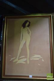 Sale 8509 - Lot 2099 - Paul Delprat (1942 - )  Standing Nude, ink and wash on paper on board, 64 x 49.5cm, signed lower right