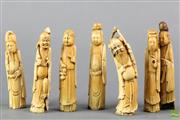 Sale 8594 - Lot 80 - Group of Seven Late Qing/ Early Republic Chinese Ivory Carvings of Immortals