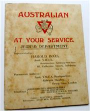Sale 8639 - Lot 78 - Fold-out Card with attached insert, Australian YMCA at your Service Jewish Department, a Cheero from Australian YMCA London Xmas 1917.