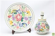 Sale 8644 - Lot 94 - Poole England Painted Charger And Lamp