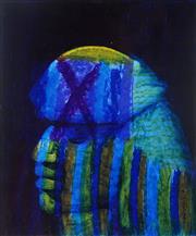Sale 8976A - Lot 5017 - Sidney Nolan (1917 - 1992) - Untitled (Blue Portrait) 30.5 x 25.5 cm (frame: 56 x 50 x 4 cm)