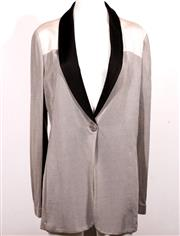 Sale 9029F - Lot 58 - AN EMPORIO ARMANI JACKET; silver grey and cream with black lapels, 95% viscose 5% elastane, size EUR 48.