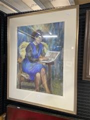 Sale 9053 - Lot 2031 - Helen Sharp Woman Reading, pastel , frame: 82 x 66 cm, signed lower right -