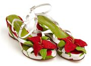 Sale 9071F - Lot 8 - A PAIR OF RAMON TENZA PEEP TOE WEDGES; in box presneting hibiscus flowers to front, size 36
