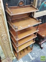 Sale 8416 - Lot 1071 - Louis XVI Style Beech Sheet Music Stand, with carved back, five open shelves & dividers below, on turned supports
