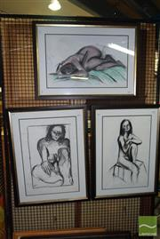 Sale 8509 - Lot 2097 - Kate Landsbury (3 works) Nude Sketches, charcoal and pencil on paper, ca75 x 54cm (frame sizes), each signed lower