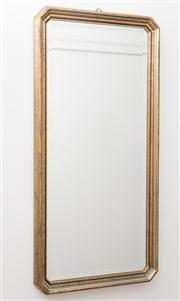 Sale 8575H - Lot 12 - A pair of decorative gilt framed bevel edged mirrors, H: 98cm W: 47cm