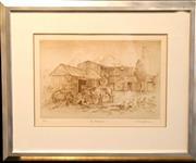 Sale 8649R - Lot 37 - Cedric Emmanuel Print - The Courtyard (ed. 21/50) (48 x 35cm)