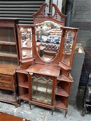 Sale 8792 - Lot 1050 - Late Victorian Mahogany Corner Cabinet, with broken arch pediment, central shield shaped mirror and side mirrors, above a gothic ast...