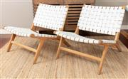 Sale 8904H - Lot 1 - A pair of Scandinavian style white leather strapwork easy chairs. Height 68cm x Width 65cm x Depth 78cm