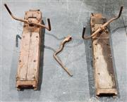 Sale 8976N - Lot 306 - Pair of Early Foster and Minty of Balmain Timber Ship Jacks with Handles (h:1210 x w:220 x d:120mm
