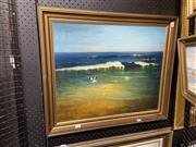 Sale 8978 - Lot 2037 - Percy Blake Nine Mile Beach, Tuncurry 1980oil on board, 57 x 67cm (frame), signed