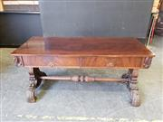 Sale 9031 - Lot 1031 - Good Cedar Side or Sofa Table, with flame veneered & cross-banded top, having two carved frieze drawers & end supports on boldly car...