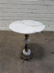 Sale 9080 - Lot 1031 - Vintage Marble and Brass Side Table (H:48 D:38cm) -